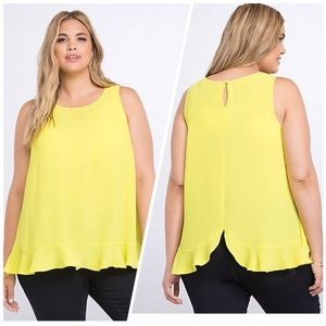 Bright torrid sleeveless shirt w/ adorable ruffle
